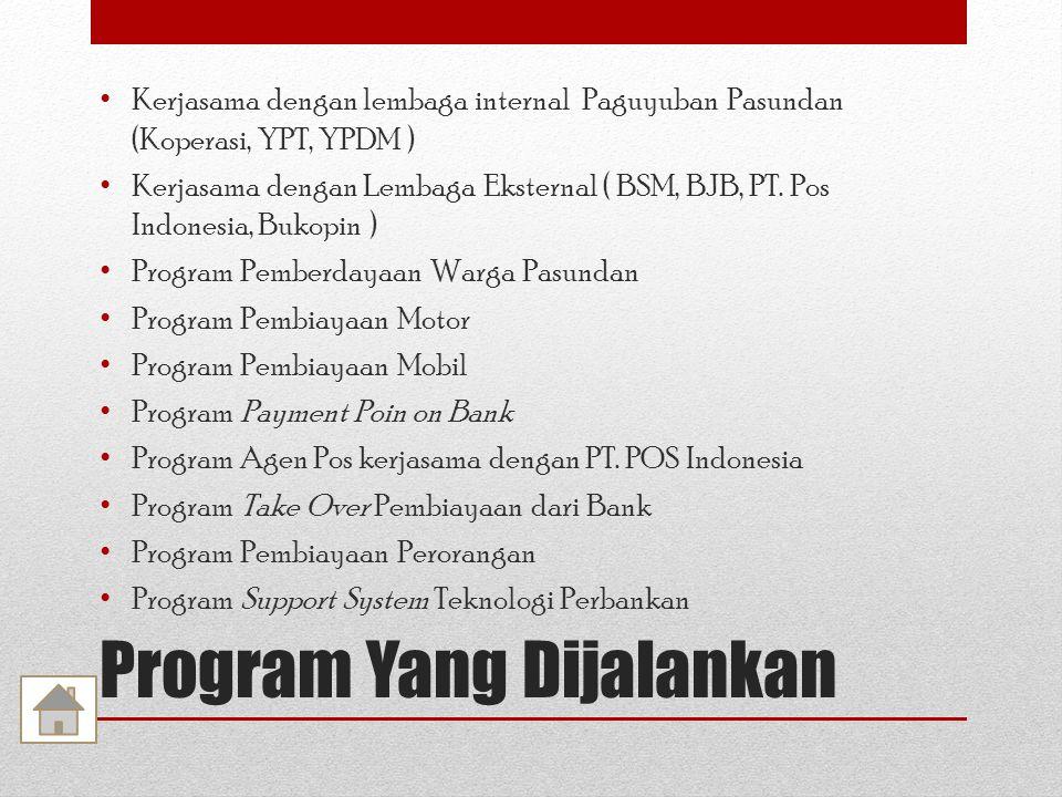 Program Yang Dijalankan Kerjasama dengan lembaga internal Paguyuban Pasundan (Koperasi, YPT, YPDM ) Kerjasama dengan Lembaga Eksternal ( BSM, BJB, PT.