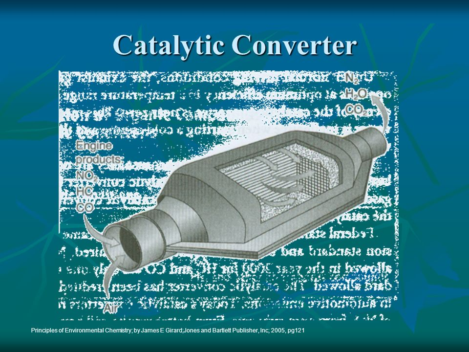 1.11 Catalytic converters are used to catalyze the conversion of CO to CO 2 The converters also reduce the amount of Volatile Organic Compounds (VOCs) from tailpipe exhaust