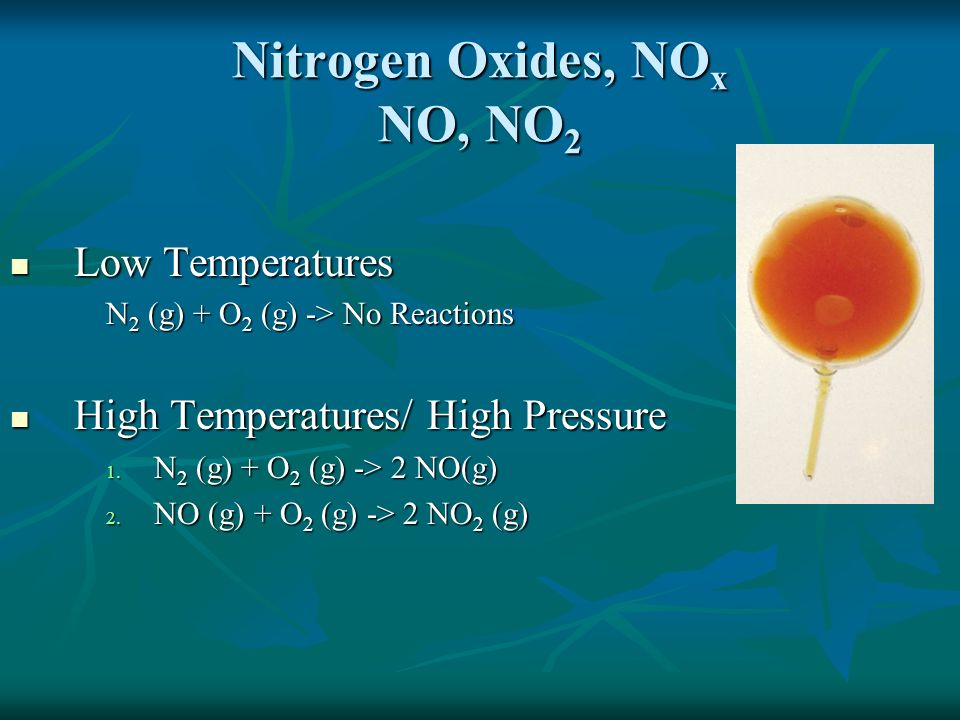Health Effects of Nitrogen Oxides Respiratory Irritant-Aggravate conditions like chronic bronchitis and asthma Respiratory Irritant-Aggravate conditions like chronic bronchitis and asthma Precursor to Ozone, O 3, formation Precursor to Ozone, O 3, formation Nitrogen Oxides Dissolve in Water to Make it Acidic Nitrogen Oxides Dissolve in Water to Make it Acidic NO(g) + NO 2 (g) + H 2 O (l) HNO 3 (aq) + HNO 2 (aq) * Unbalanced equation