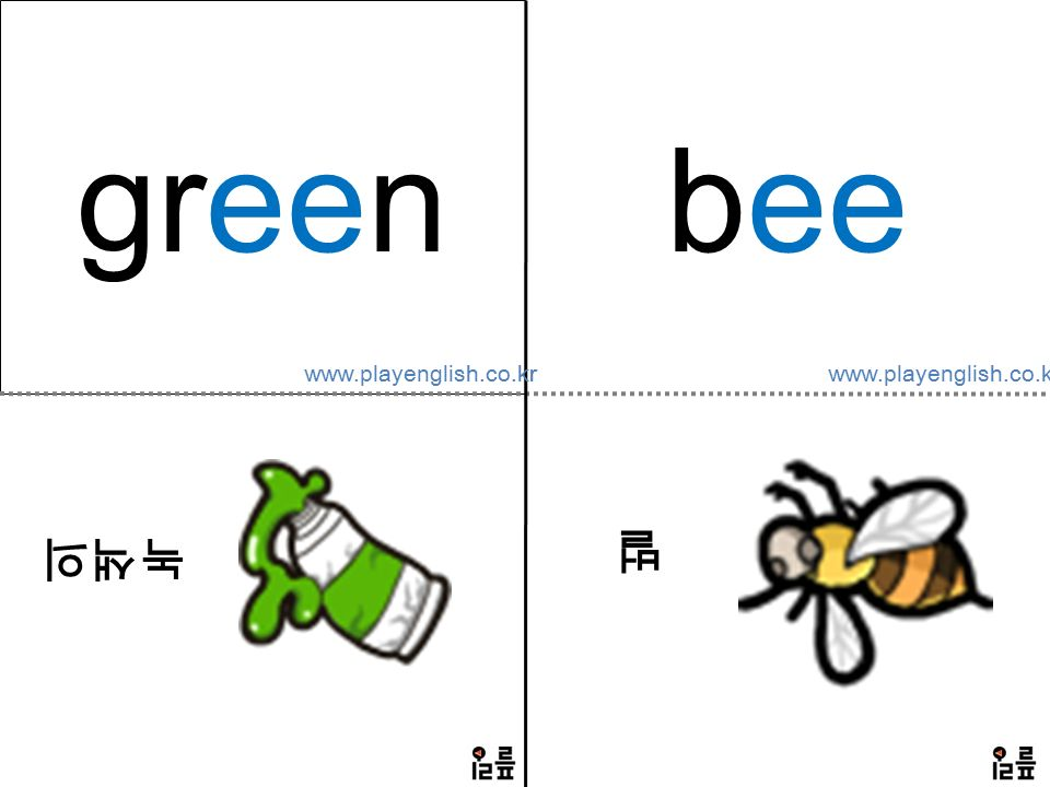 green 녹색의 bee 벌 www.playenglish.co.kr