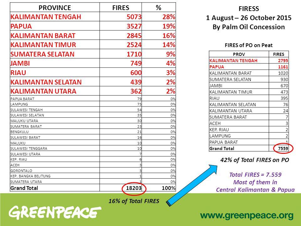 FIRESS 1 August – 26 October 2015 By Palm Oil Concession PROVINCEFIRES% KALIMANTAN TENGAH5073 28% PAPUA3527 19% KALIMANTAN BARAT2845 16% KALIMANTAN TIMUR2524 14% SUMATERA SELATAN1710 9% JAMBI749 4% RIAU600 3% KALIMANTAN SELATAN439 2% KALIMANTAN UTARA362 2% PAPUA BARAT79 0% LAMPUNG75 0% SULAWESI TENGAH54 0% SULAWESI SELATAN35 0% MALUKU UTARA30 0% SUMATERA BARAT23 0% BENGKULU21 0% SULAWESI BARAT16 0% MALUKU10 0% SULAWESI TENGGARA10 0% SULAWESI UTARA7 0% KEP.