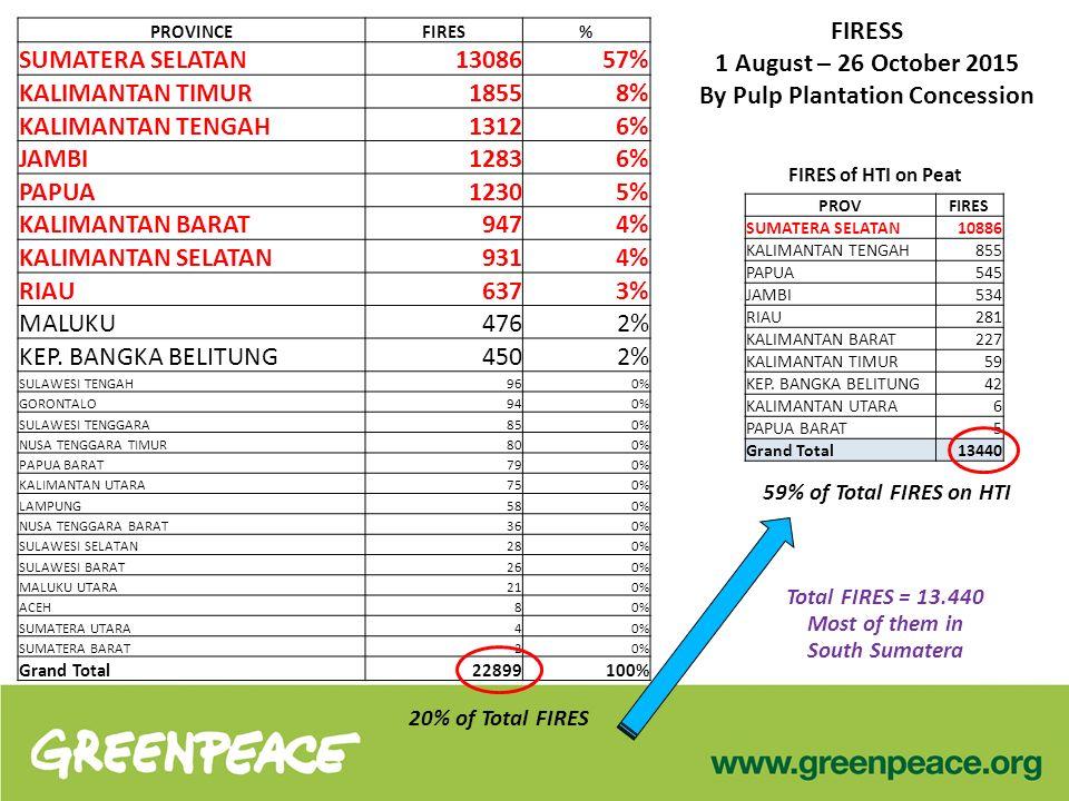 FIRESS 1 August – 26 October 2015 By Pulp Plantation Concession PROVINCEFIRES% SUMATERA SELATAN13086 57% KALIMANTAN TIMUR1855 8% KALIMANTAN TENGAH1312 6% JAMBI1283 6% PAPUA1230 5% KALIMANTAN BARAT947 4% KALIMANTAN SELATAN931 4% RIAU637 3% MALUKU476 2% KEP.