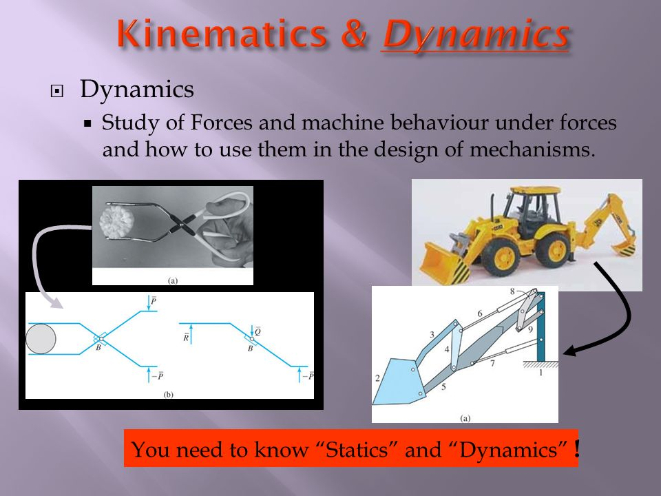  Dynamics  Study of Forces and machine behaviour under forces and how to use them in the design of mechanisms.