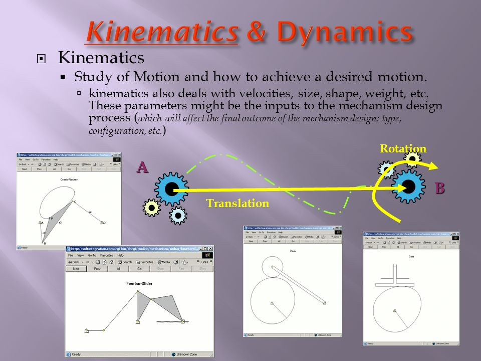 Kinematics  Study of Motion and how to achieve a desired motion.  kinematics also deals with velocities, size, shape, weight, etc. These parameter
