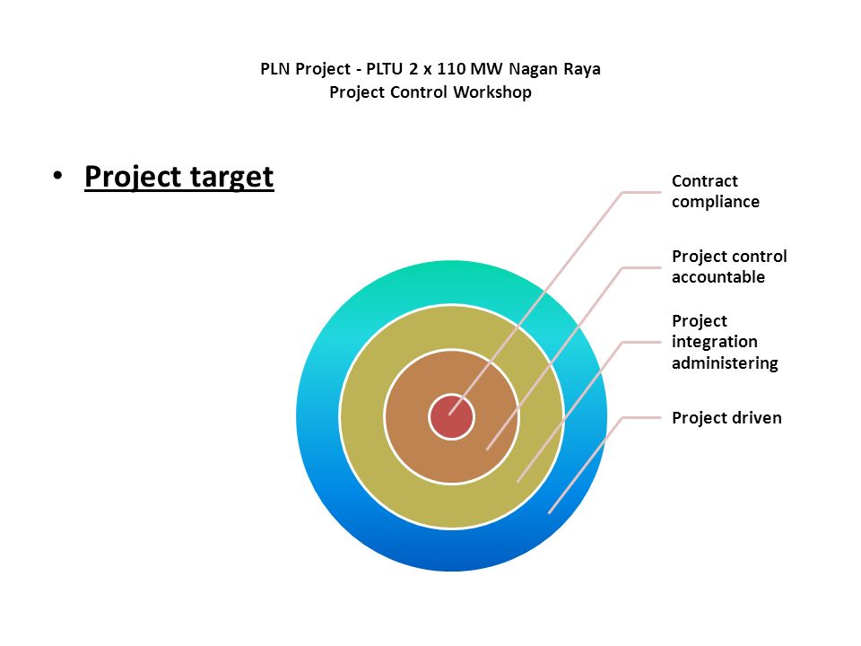 PLN Project - PLTU 2 x 110 MW Nagan Raya Project Control Workshop Contract compliance Project control accountable Project integration administering Project driven Project target