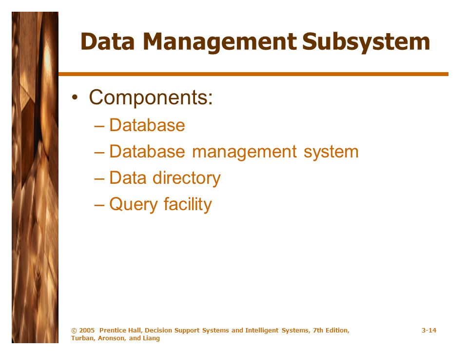 © 2005 Prentice Hall, Decision Support Systems and Intelligent Systems, 7th Edition, Turban, Aronson, and Liang 3-14 Data Management Subsystem Components: –Database –Database management system –Data directory –Query facility
