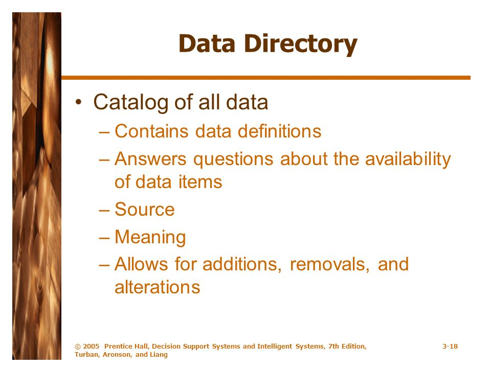 © 2005 Prentice Hall, Decision Support Systems and Intelligent Systems, 7th Edition, Turban, Aronson, and Liang 3-18 Data Directory Catalog of all data –Contains data definitions –Answers questions about the availability of data items –Source –Meaning –Allows for additions, removals, and alterations
