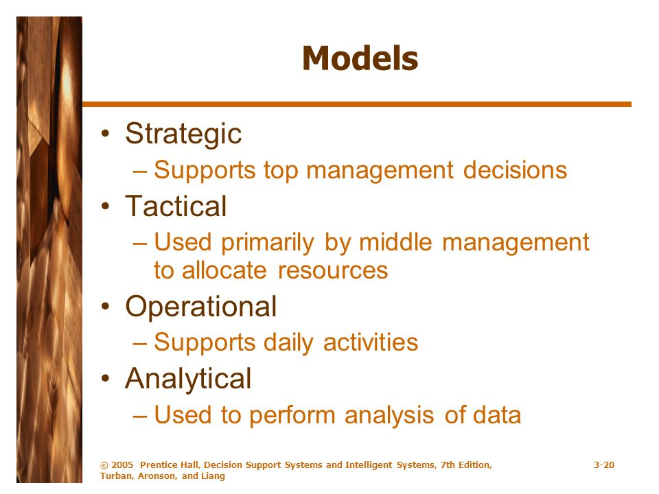 © 2005 Prentice Hall, Decision Support Systems and Intelligent Systems, 7th Edition, Turban, Aronson, and Liang 3-20 Models Strategic –Supports top management decisions Tactical –Used primarily by middle management to allocate resources Operational –Supports daily activities Analytical –Used to perform analysis of data