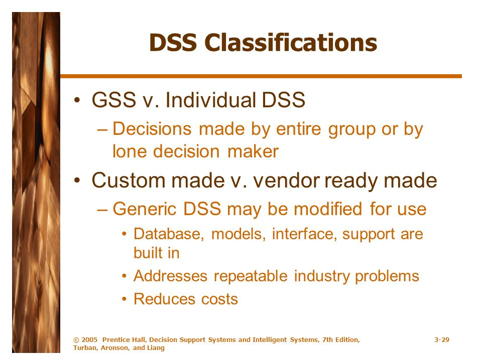 © 2005 Prentice Hall, Decision Support Systems and Intelligent Systems, 7th Edition, Turban, Aronson, and Liang 3-29 DSS Classifications GSS v. Indivi