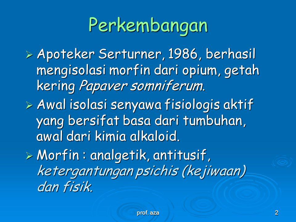 2 Perkembangan  Apoteker Serturner, 1986, berhasil mengisolasi morfin dari opium, getah kering Papaver somniferum.