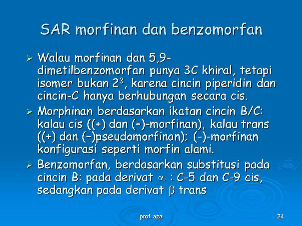 prof. aza23 Analgetika dan antitusif gol. Morfinan dan benzomorfan  Grewe (1946) mengsintesis morfinan, beda dengan morfin, tidak ada jembatan eter.