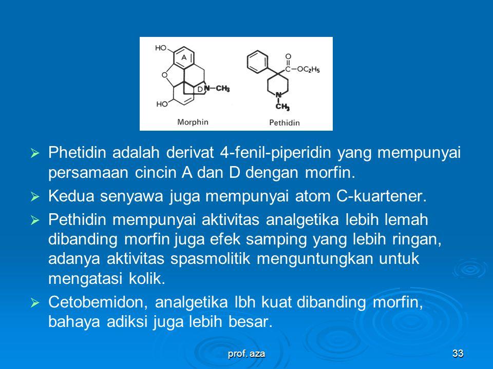 prof. aza32 Phetidin adalah derivat 4-fenil-piperidin yang mempunyai persamaan cincin A dan D dengan morfin. Kedua senyawa juga mempunyai atom C-kuart