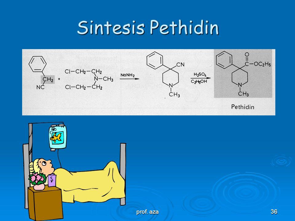prof. aza35 SAR-Pethidin dan Derivat  Gugus ester –COOC 2 H 5 dapat ditukar dengan inversi ester –O-CO-C 2 H 5 (alphaprodin) dan beberapa gugus menga