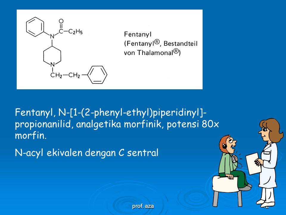 prof. aza41 Analgetika kuat, Struktur parsial yang esential  Atom C sentral, tidak memegang H  Sisa aromatik pada C sentral  Gugus amin tersier  J