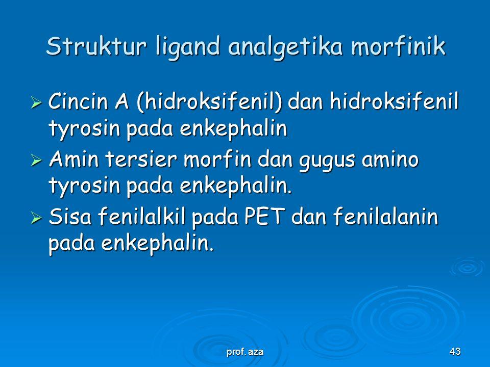 prof. aza42 Fentanyl, N-[1-(2-phenyl-ethyl)piperidinyl]- propionanilid, analgetika morfinik, potensi 80x morfin. N-acyl ekivalen dengan C sentral