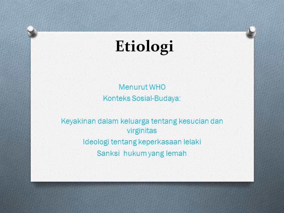 Etiologi Menurut WHO Konteks Sosial-Budaya: Keyakinan dalam keluarga tentang kesucian dan virginitas Ideologi tentang keperkasaan lelaki Sanksi hukum yang lemah