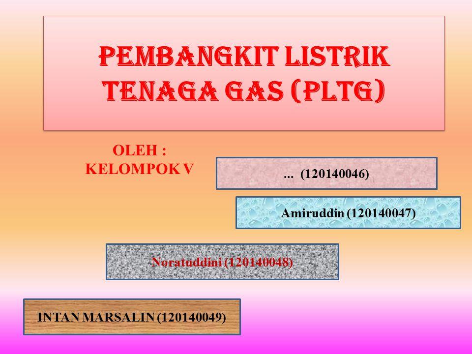 Pembangkit Listrik Tenaga Gas (PLTG) OLEH : KELOMPOK V... (120140046) Amiruddin (120140047) Noratuddini (120140048) INTAN MARSALIN (120140049)
