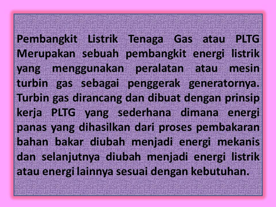 Prinsip Kerja Pembangkit Listrik Tenaga Gas (PLTG) Turbin gas (Gas Turbine) Kompresor (Compressor ) Ruang Bakar (Combustor) Generator