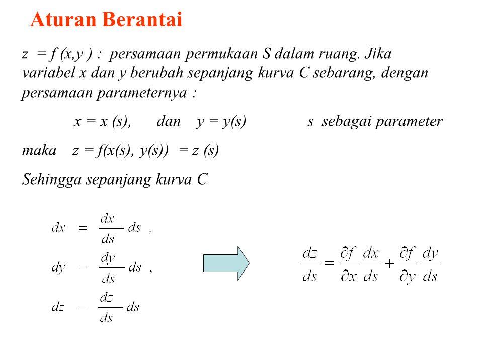 Aturan Berantai z = f (x,y ) : persamaan permukaan S dalam ruang. Jika variabel x dan y berubah sepanjang kurva C sebarang, dengan persamaan parameter
