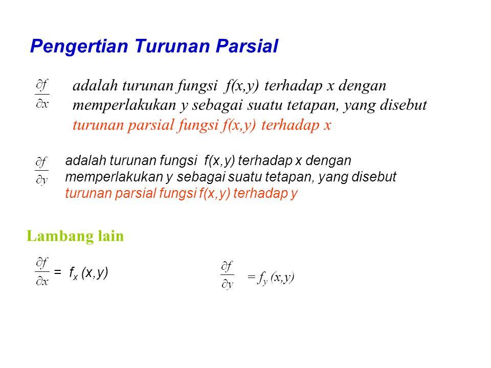 Pengertian Turunan Parsial adalah turunan fungsi f(x,y) terhadap x dengan memperlakukan y sebagai suatu tetapan, yang disebut turunan parsial fungsi f