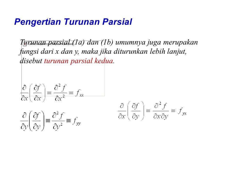 Pengertian Turunan Parsial Turunan parsial (1a) dan (1b) umumnya juga merupakan fungsi dari x dan y, maka jika diturunkan lebih lanjut, disebut turuna