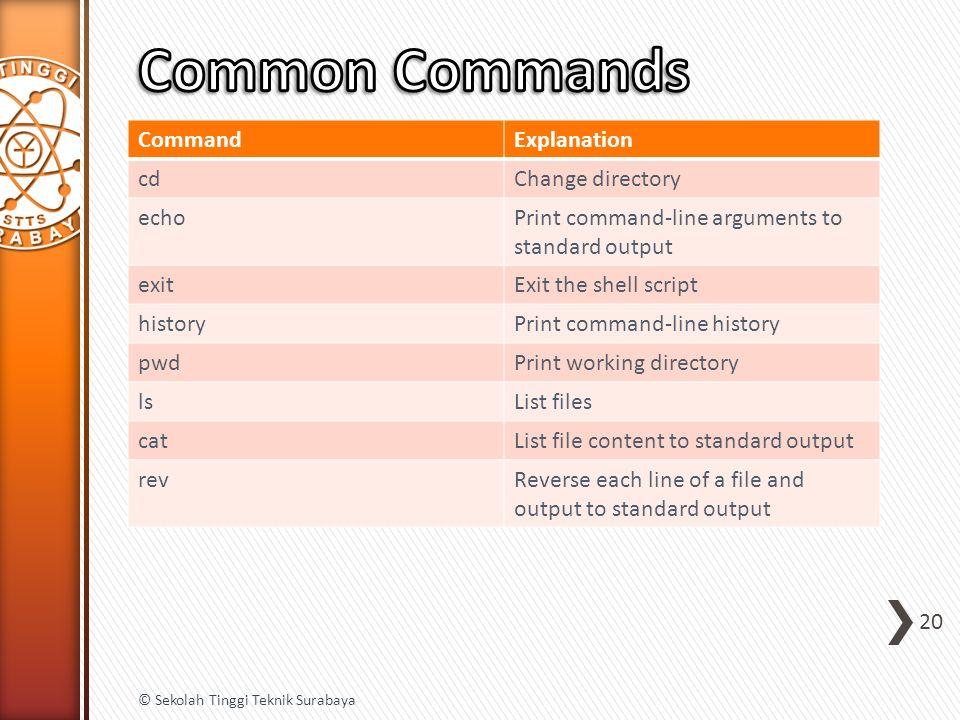 CommandExplanation cdChange directory echoPrint command-line arguments to standard output exitExit the shell script historyPrint command-line history
