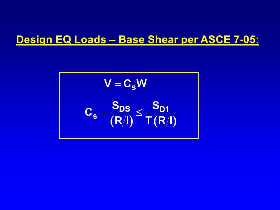 Design EQ Loads – Base Shear per ASCE 7-05: