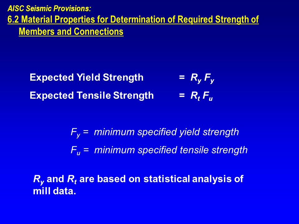 AISC Seismic Provisions: 6.2 Material Properties for Determination of Required Strength of Members and Connections Expected Yield Strength = R y F y E