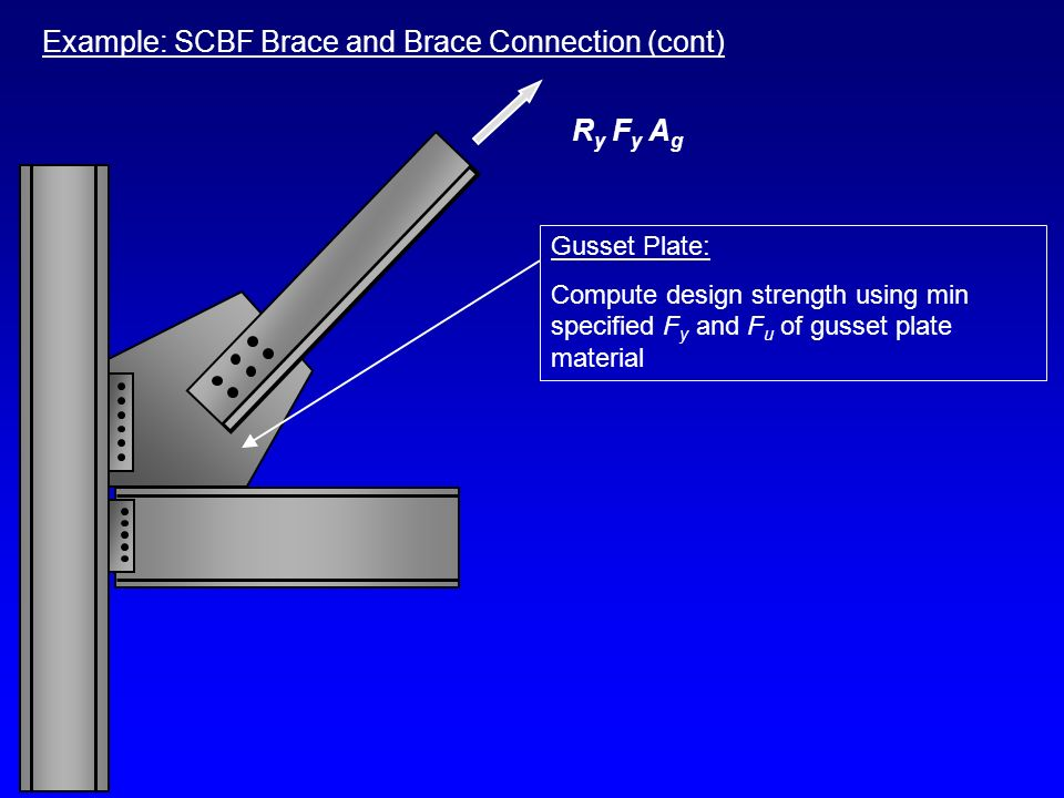 Example: SCBF Brace and Brace Connection (cont) Gusset Plate: Compute design strength using min specified F y and F u of gusset plate material R y F y
