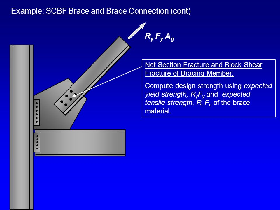 Example: SCBF Brace and Brace Connection (cont) Net Section Fracture and Block Shear Fracture of Bracing Member: Compute design strength using expecte