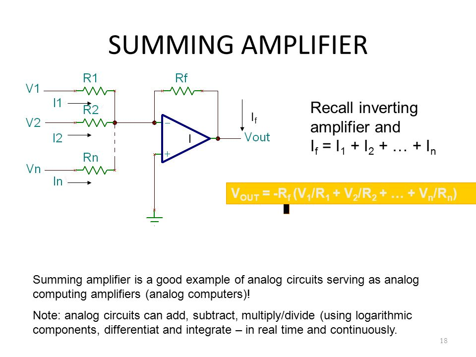 SUMMING AMPLIFIER 18 V OUT = -R f (V 1 /R 1 + V 2 /R 2 + … + V n /R n ) IfIf Recall inverting amplifier and I f = I 1 + I 2 + … + I n Summing amplifie