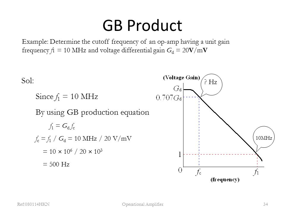 GB Product Ref:080114HKNOperational Amplifier34 Example: Determine the cutoff frequency of an op-amp having a unit gain frequency f 1 = 10 MHz and vol