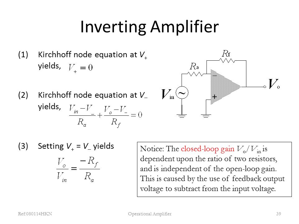 Inverting Amplifier (1)Kirchhoff node equation at V + yields, (2)Kirchhoff node equation at V  yields, (3)Setting V + = V – yields Ref:080114HKNOpera