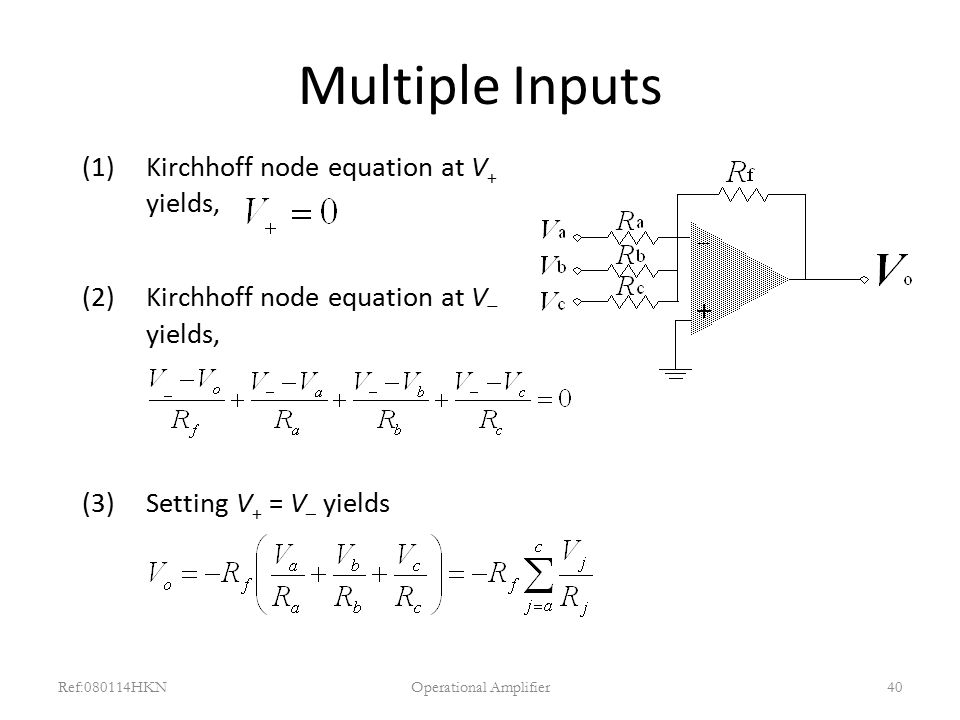 Multiple Inputs (1)Kirchhoff node equation at V + yields, (2)Kirchhoff node equation at V  yields, (3)Setting V + = V – yields Ref:080114HKNOperation