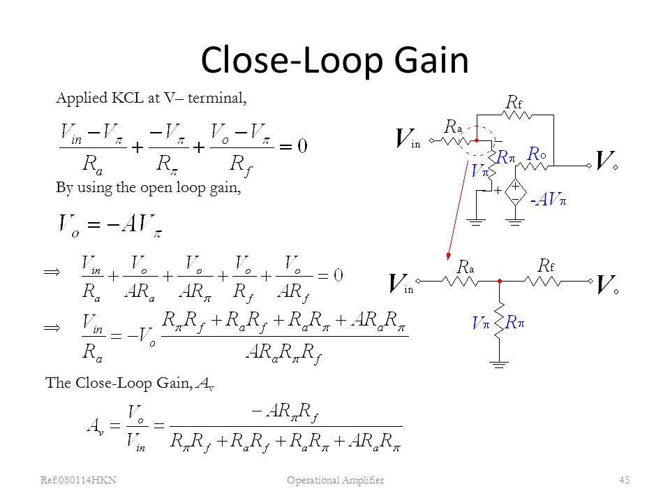 Close-Loop Gain Ref:080114HKNOperational Amplifier45 Applied KCL at V– terminal, By using the open loop gain,   The Close-Loop Gain, A v