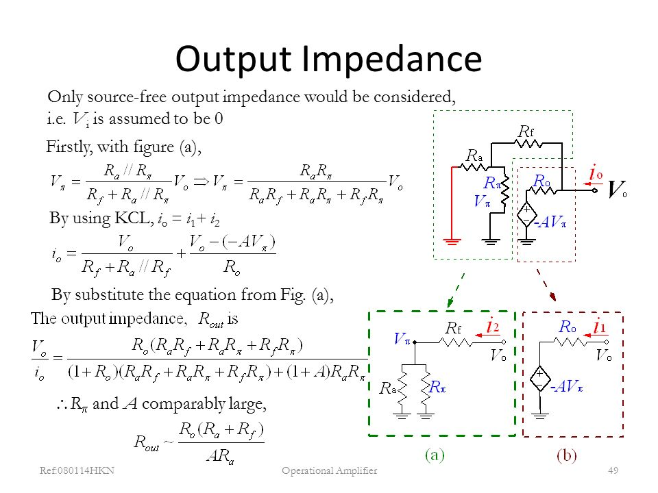 Output Impedance Ref:080114HKNOperational Amplifier49 Only source-free output impedance would be considered, i.e. V i is assumed to be 0 Firstly, with
