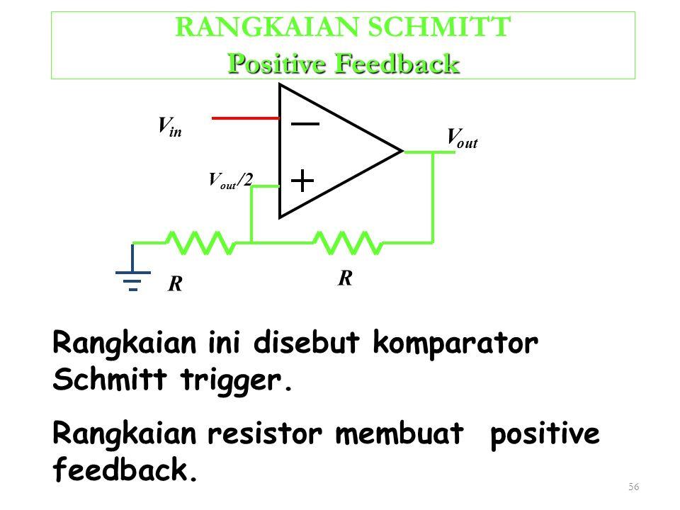 56 Positive Feedback RANGKAIAN SCHMITT Positive Feedback Rangkaian ini disebut komparator Schmitt trigger. Rangkaian resistor membuat positive feedbac