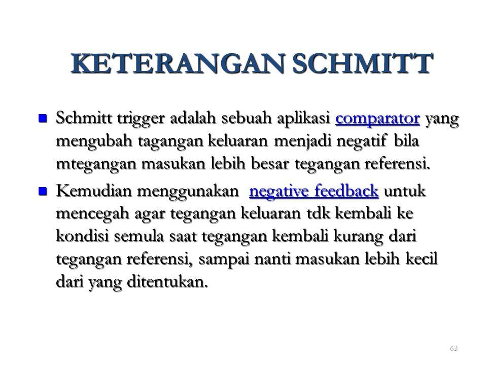 63 KETERANGAN SCHMITT Schmitt trigger adalah sebuah aplikasi comparator yang mengubah tagangan keluaran menjadi negatif bila mtegangan masukan lebih b
