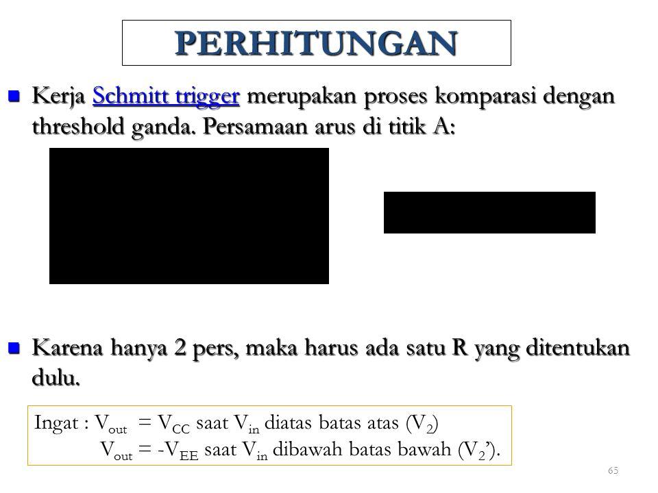 65 PERHITUNGAN Kerja Schmitt trigger merupakan proses komparasi dengan threshold ganda. Persamaan arus di titik A: Kerja Schmitt trigger merupakan pro