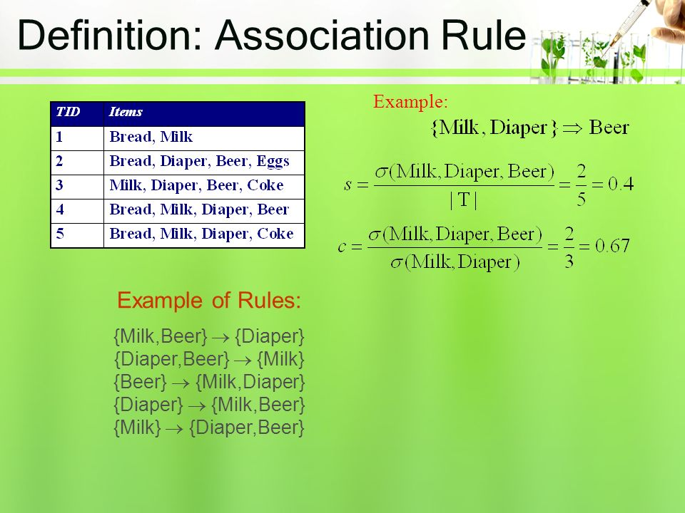 Definition: Association Rule Example: Example of Rules: {Milk,Beer}  {Diaper} {Diaper,Beer}  {Milk} {Beer}  {Milk,Diaper} {Diaper}  {Milk,Beer} {Milk}  {Diaper,Beer}