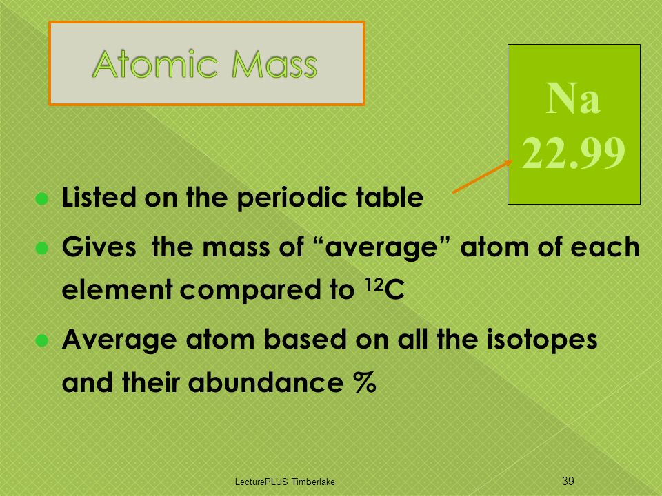 Listed on the periodic table Gives the mass of average atom of each element compared to 12 C Average atom based on all the isotopes and their abundance % LecturePLUS Timberlake 39 Na 22.99