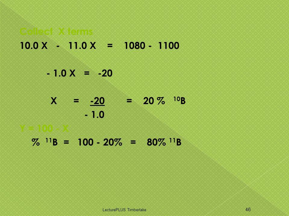 Collect X terms 10.0 X - 11.0 X = 1080 - 1100 - 1.0 X = -20 X = -20 = 20 % 10 B - 1.0 Y = 100 - X % 11 B = 100 - 20% = 80% 11 B LecturePLUS Timberlake 46