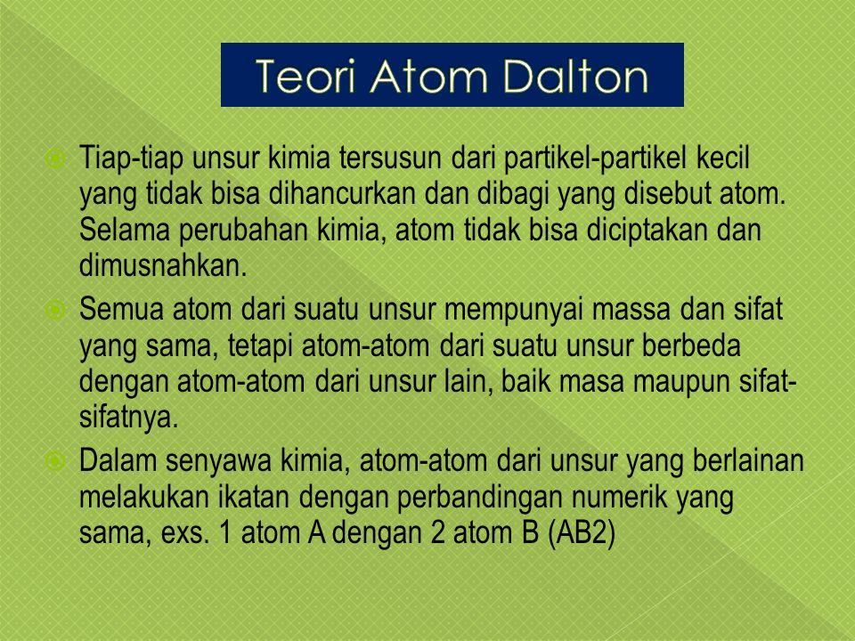  Tiap-tiap unsur kimia tersusun dari partikel-partikel kecil yang tidak bisa dihancurkan dan dibagi yang disebut atom.