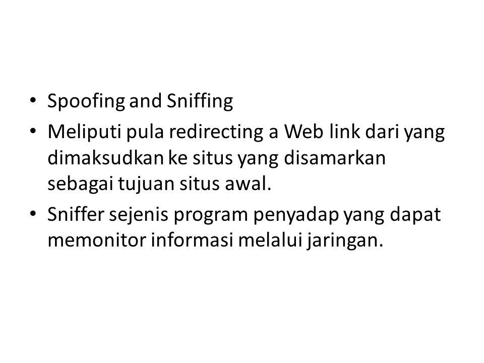 Spoofing and Sniffing Meliputi pula redirecting a Web link dari yang dimaksudkan ke situs yang disamarkan sebagai tujuan situs awal.