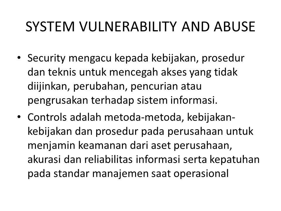SYSTEM VULNERABILITY AND ABUSE Security mengacu kepada kebijakan, prosedur dan teknis untuk mencegah akses yang tidak diijinkan, perubahan, pencurian atau pengrusakan terhadap sistem informasi.