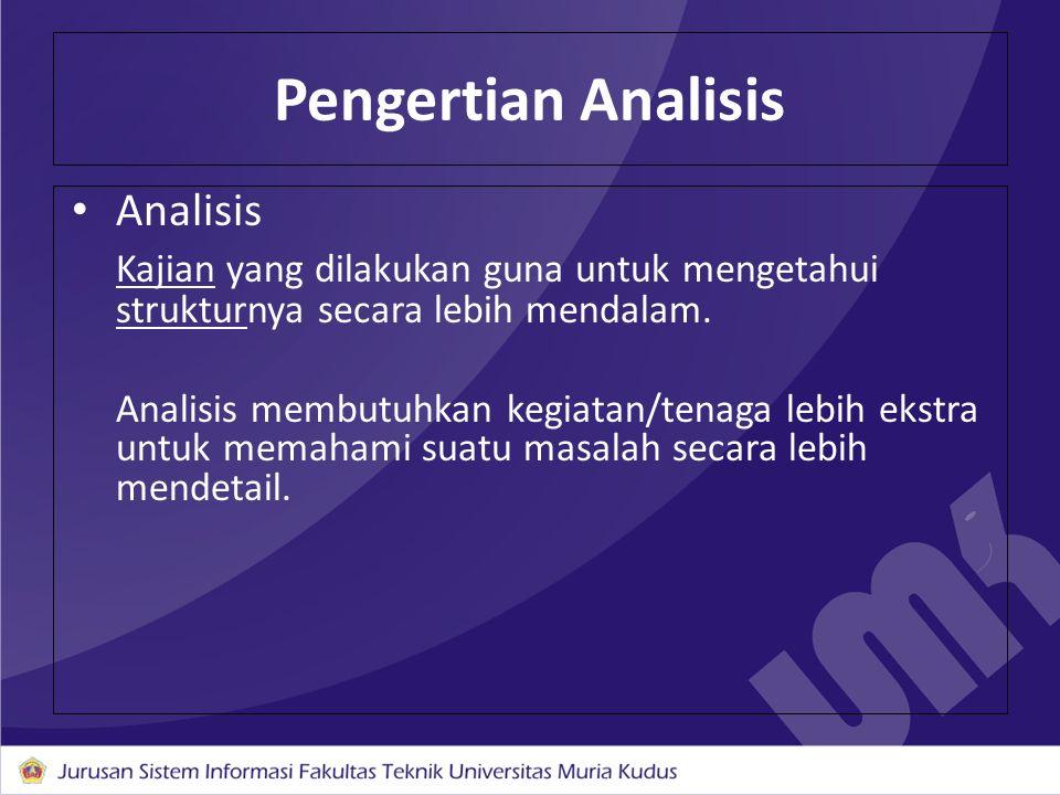 Pengertian Analisis Analisis Kajian yang dilakukan guna untuk mengetahui strukturnya secara lebih mendalam. Analisis membutuhkan kegiatan/tenaga lebih