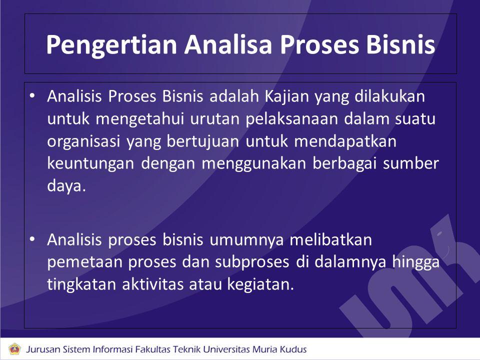 Analisis Proses Bisnis adalah Kajian yang dilakukan untuk mengetahui urutan pelaksanaan dalam suatu organisasi yang bertujuan untuk mendapatkan keuntu