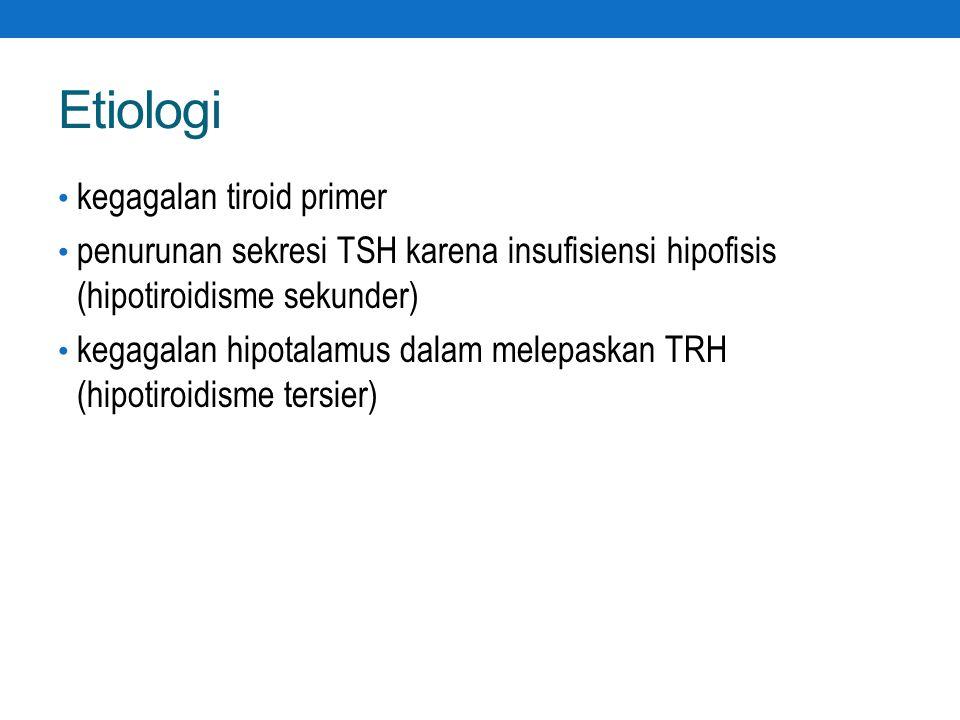 Etiologi kegagalan tiroid primer penurunan sekresi TSH karena insufisiensi hipofisis (hipotiroidisme sekunder) kegagalan hipotalamus dalam melepaskan TRH (hipotiroidisme tersier)