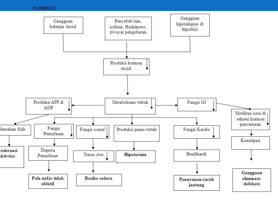 Gangguan hipotalamus & hipofisis Produksi hormon tiroid Metabolisme tubuhFungsi GI Fungsi syaraf Produksi ATP & ADP Gangguan kelenjar tiroid Penyebab lain, iodium, Hashimoto, riwayat pengobatan Produksi panas tubuh Fungsi Kardio Kelemahan fisik Intoleransi aktivitas Tonus otot Resiko cedera Hipotermia Bradikardi Penurunan curah jantung Motilitas usus & sekresi hormon pencernaan Konstipasi Gangguan eliminasi: defekasi Fungsi Pernafasan Depresi Pernafasan Pola nafas tidak efektif PATHWAY