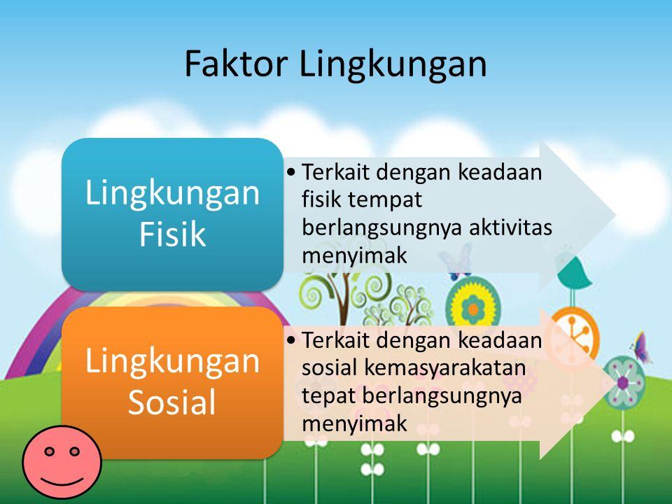 Faktor Lingkungan Terkait dengan keadaan fisik tempat berlangsungnya aktivitas menyimak Lingkungan Fisik Terkait dengan keadaan sosial kemasyarakatan tepat berlangsungnya menyimak Lingkungan Sosial